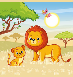 Lion and a cub are standing on grass vector