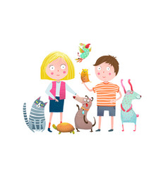 Little boy and girl in pet shop vector