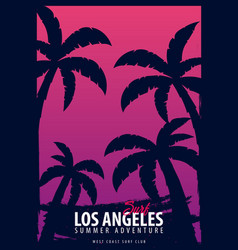 Los angeles surfing graphic with palms t-shirt vector