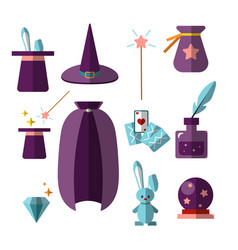 Magician illusionist flat set with fabulous vector