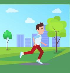 man running at park in summer vector image