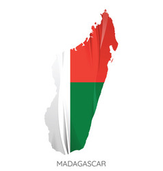 map madagascar with an official flag on white vector image