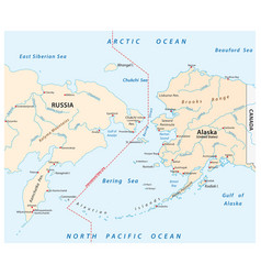 map of the bering strait between russia and alaska vector image