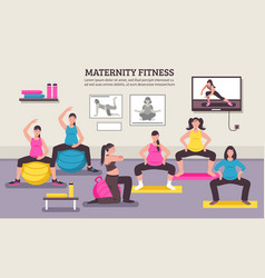 Maternity fitness class flat poster vector