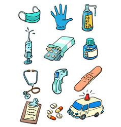 Medicine health diseases epidemic collection set vector