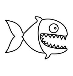 Monochrome silhouette of piranha with big teeths vector