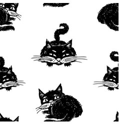 pattern drawn black kitten vector image