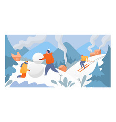 People rest mountain winter sport character male vector