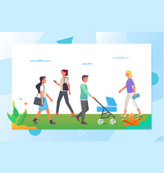 people walking in the city park cartoon vector image
