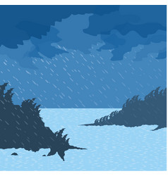 Rain on the sea vector