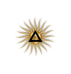 Sacred masonic symbol all seeing eye gold logo vector