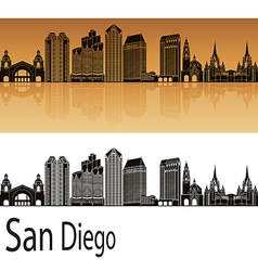 San diego skyline in orange vector