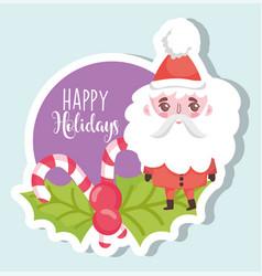 Santa claus happy merry christmas tag vector