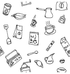 Seamless pattern set of coffee and tea vector image