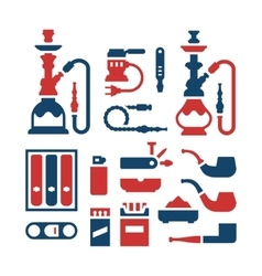 Set color icons of smoking equipment vector image