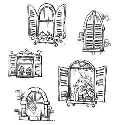 set hand drawn windows vector image