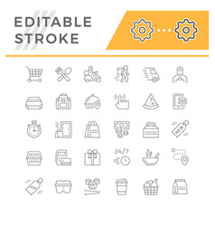set line icons food delivery vector image