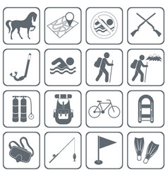 set of camping and sport equipment icons vector image
