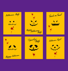 set of devil faces on yellow halloween card vector image