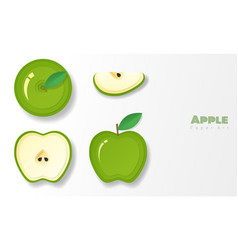 set of green apples in paper art style vector image