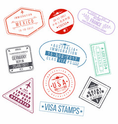 set of visa passport stamps international vector image