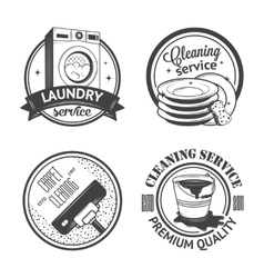 set vintage logos labels and badges cleaning vector image