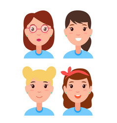 set women faces character constructor hairstyles vector image