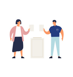 smiling man and woman putting ballots in ballot vector image