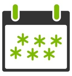 Snow Calendar Day Flat Icon vector image