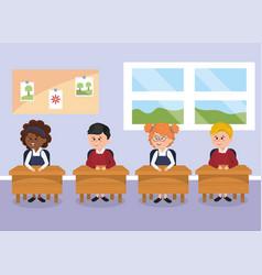 student children with school desk in the classroom vector image