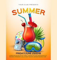 summer tropical club cocktail party poster vector image
