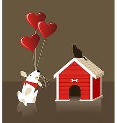 The dog and cat Valentines love vector