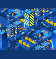 the night industrial construction home smart city vector image