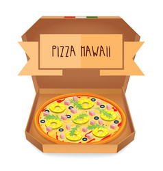 the real pizza hawaii italian pizza in box vector image