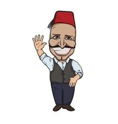 Turkish man waving hello vector image