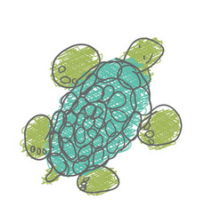 turtle isolated on white background childs hand vector image