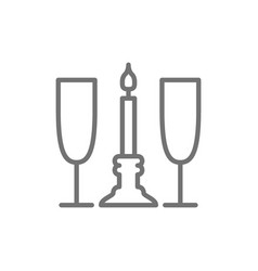 two glasses with candle romance line icon vector image