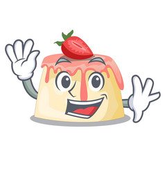 Waving strawberry pudding on wooden cartoon table vector
