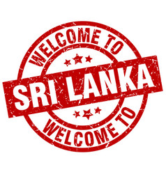 welcome to sri lanka red stamp vector image
