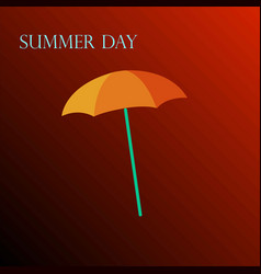 yellow umbrella on a red background vector image