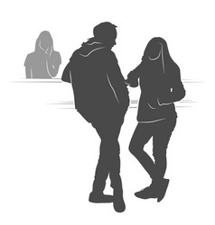 young couple waiting their turn silhouette vector image