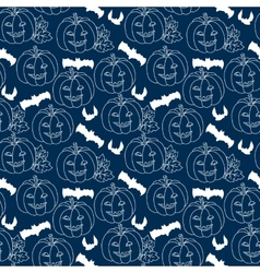 Halloween blue seamless pattern with pumpkins vector image