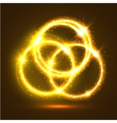 Luminous sparkling circles of golden light flashes vector