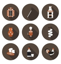 set of flat icons village vector image vector image