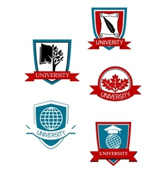 Set of university and college symbols vector
