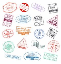 Set of visa passport stamps international vector