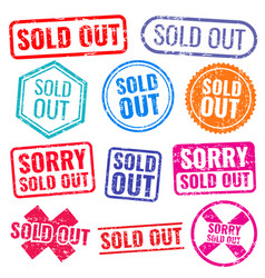 sold out stamps with grunge texture isolated vector image vector image
