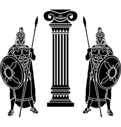 two hoplits and column stencil vector image vector image