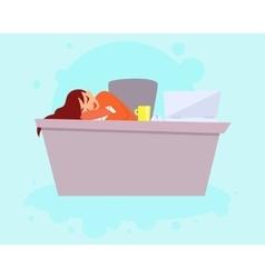 Woman sleeping on work vector image vector image
