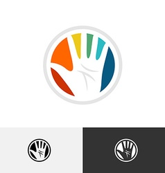 Colorful hand logo vector image vector image